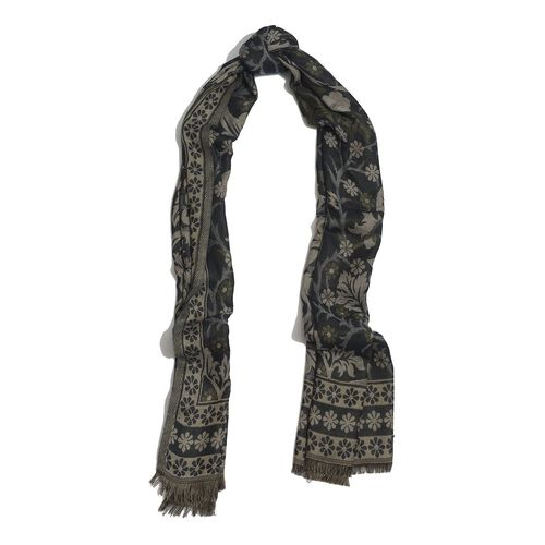 Black and Multi Colour Floral Pattern Green Colour Scarf (Size 180x65 Cm)