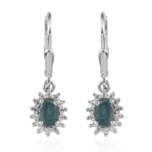 Grandidierite and Natural Cambodian Zircon Lever Back Halo Drop Earrings in Platinum Overlay Sterlin