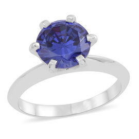 ELANZA AAA Simulated Tanzanite (Rnd) Solitaire Ring in Rhodium Plated Sterling Silver