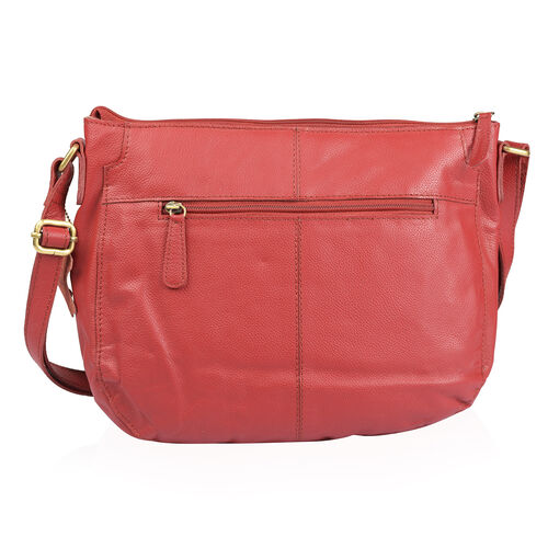 Genuine Leather RFID Blocker Red Colour Sling Bag with Adjustable Shoulder Strap (Size 32X26X10 Cm)
