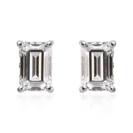 J Francis Made with SWAROVSKI ZIRCONIA Solitaire Stud Earrings (with Push Back) in 9K White Gold