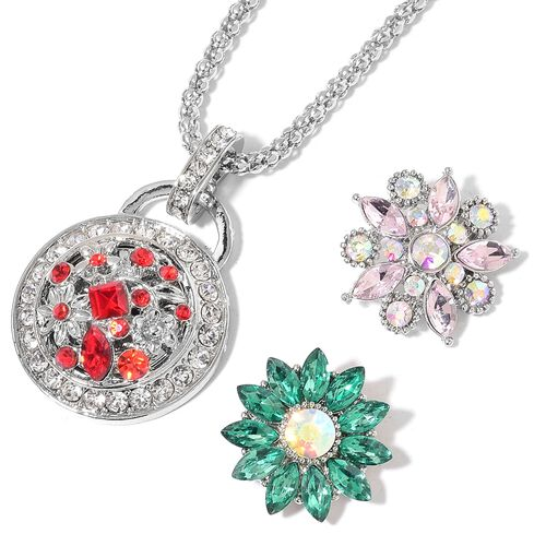 Simulated Pink Sapphire, Simulated Emerald, Simulated Ruby and Simulated Multi Gemstone Pendant With Chain (Size 32 with 3 inch Extender) with 3 Interchangeable Floral Charms in Silver Tone