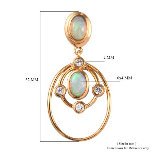 Ethiopian Welo Opal and Natural Cambodian Zircon Earrings (with Push Back) in 14K Gold Overlay Sterling Silver 1.50 Ct.