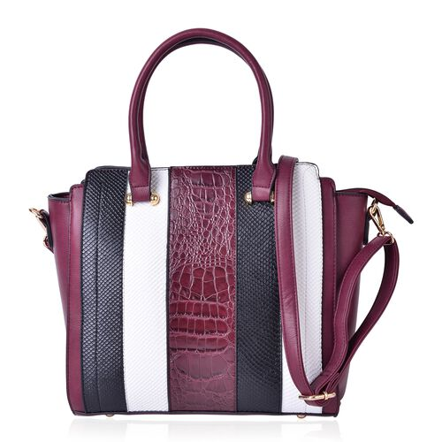 Snake and Croc Embossed Stripes Pattern Large Tote Bag with Removable Shoulder Strap (Size 37X29X28X12 Cm)