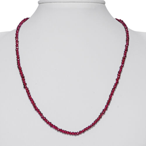 One Time Mega Deal- Orrisa Rhodolite Garnet Faceted Beads Necklace (Size 18) in Rhodium Overlay Sterling Silver 60.000 Ct.