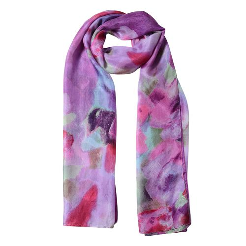 Designer Inspired- 100%  Mulberry Silk Dark Purple and Multi Colour Floral Pattern Scarf (Size 175x53 Cm)