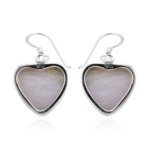Bali Legacy Collection - White Mabe Pear Heart Hook Earrings in Sterling Silver