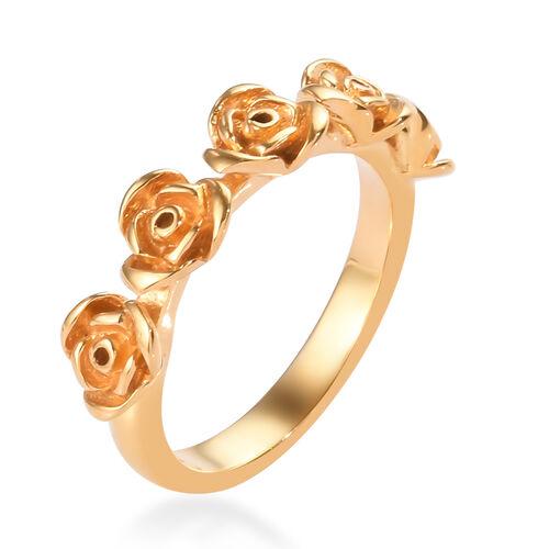 14K Gold Overlay Sterling Silver Rose Ring