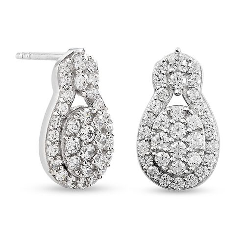 J Francis Platinum Overlay Sterling Silver Earrings (with Push Back) Made with SWAROVKSI ZIRCONIA 2.