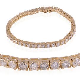 14K Yellow Gold SGL Certified Diamond (Rnd) (I1-I2 / G-H) Bracelet (Size 8.25) 11.500 Ct, Gold wt 20