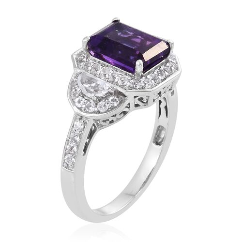Rare Size Lusaka Amethyst (Oct 3.30 Ct), White Topaz Ring in Platinum Overlay Sterling Silver 4.500 Ct.