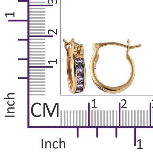Tanzanite (Rnd) Hoop Earrings (with Clasp Lock) in 14K Gold Overlay Sterling Silver 1.000 Ct.