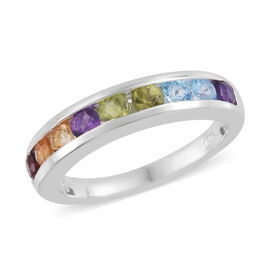 Multi Gem Stone Sterling Silver Ring  1.250  Ct.