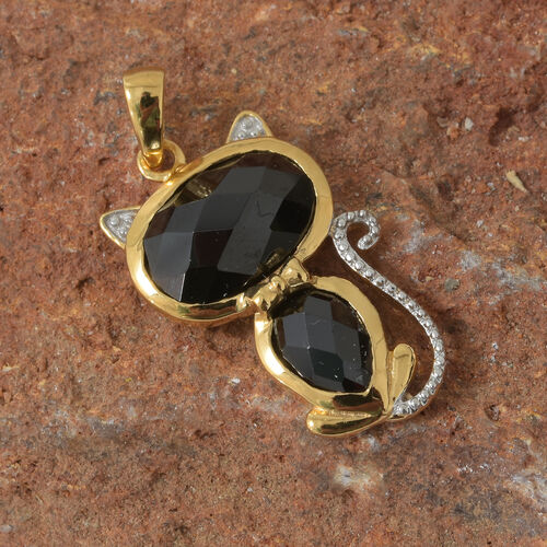 Boi Ploi Black Spinel (Ovl) Cat Pendant in 14K Gold Overlay Sterling Silver 5.250 Ct.