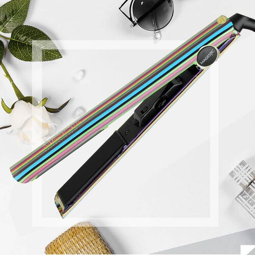 Magestic: Nano Hair Straightener - Silver Art Collection - Stripes