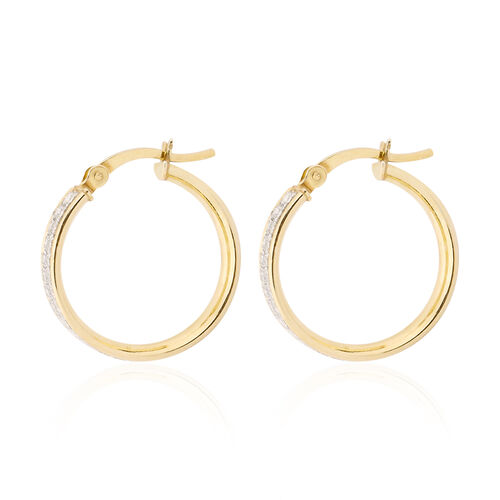 NEW YORK DESIGNER CLOSE OUT DEAL- Simulated Diamond Yellow Gold Overlay Sterling Silver Glitter Creole Hoop Earrings
