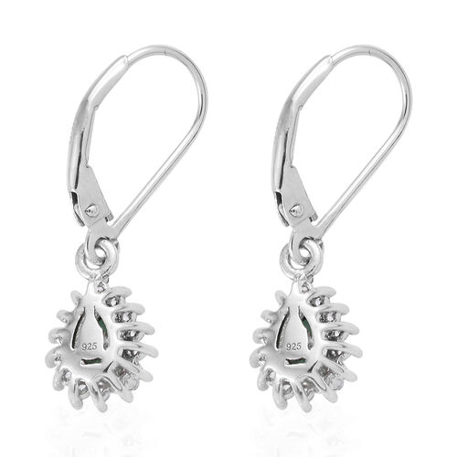 Kagem Zambian Emerald (Pear 6x4 mm), Natural Cambodian Zircon Lever Back Earrings in Platinum Overlay Sterling Silver 1.000 Ct.