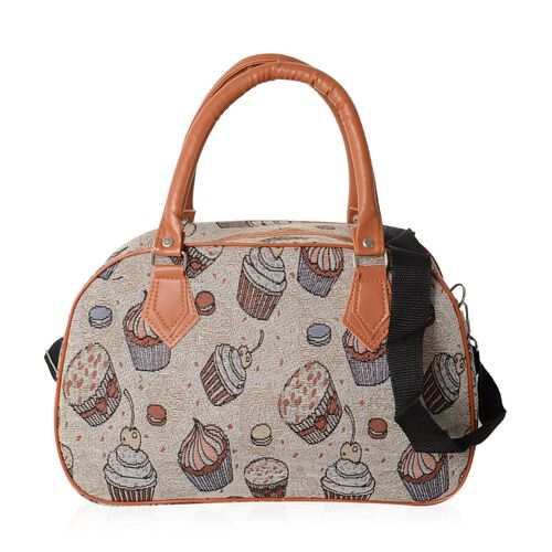 Jacquard Light Weight Ice-Cream and Cake Pattern Tote Bag with Removable Shoulder Strap (Size 35x23x