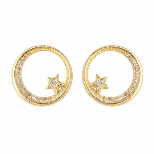 Isabella Liu Twilight Collection Zircon Moon Stud Earrings in Gold Plated Silver