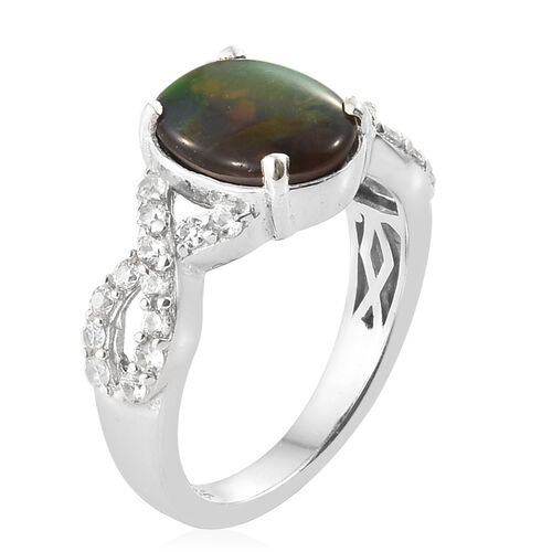 AA Canadian Ammolite (Ovl 10x8 mm), Natural White Cambodian Zircon Ring in Platinum Overlay Sterling Silver.