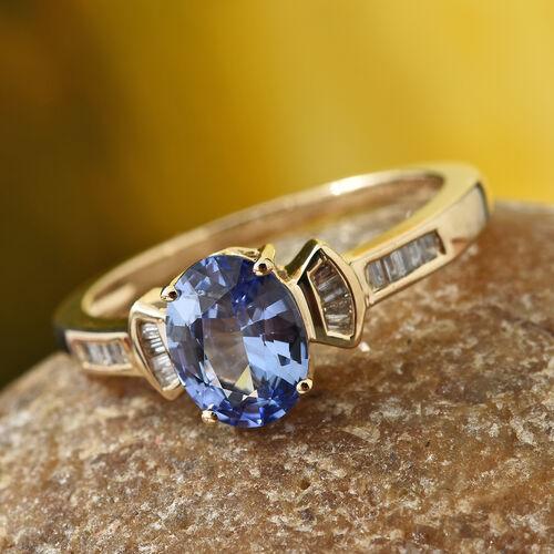 14K Yellow Gold AA Royal Ceylon Blue Sapphire (Ovl 1.35 Ct), Diamond Ring 1.450 Ct