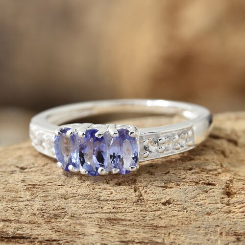Tanzanite (Ovl), White Topaz Trilogy Ring in Sterling Silver 0.750 Ct.
