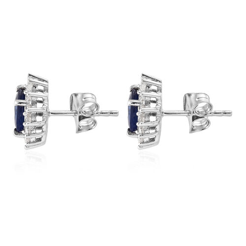 Blue Spinel (Ovl), Natural Cambodian Zircon Stud Earrings (With Push Back) in Platinum Overlay Sterling Silver 2.500 Ct.
