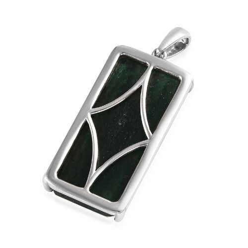 Green Aventurine (Oct 30x15 mm) Solitaire Pendant in Sterling Silver 23.25 Ct, Silver wt 3.51 Gms