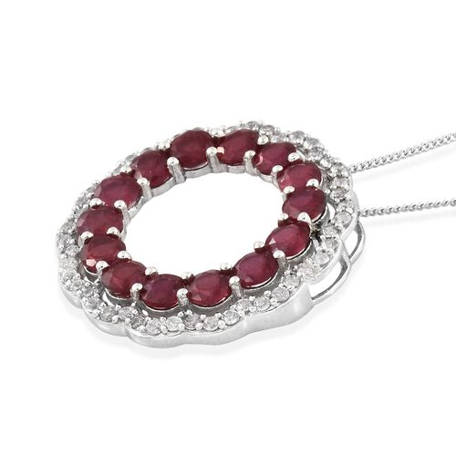 African Ruby (Rnd), Natural Cambodian Zircon Circle of Life Pendant with Chain in Platinum Overlay Sterling Silver 6.000 Ct.