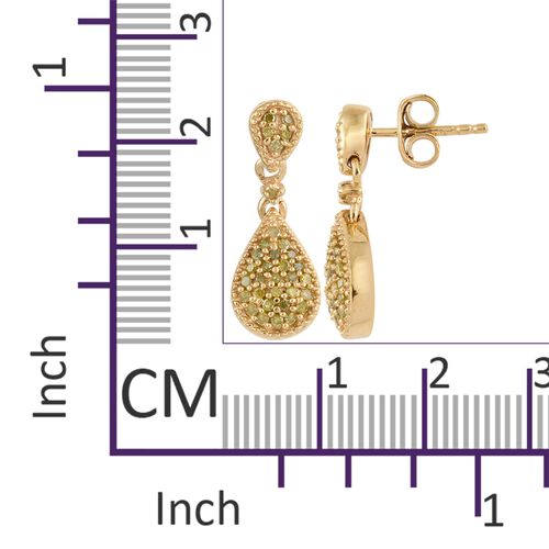 Yellow Diamond (Rnd) Drop Earrings (with Push Back) in 14K Gold Overlay Sterling Silver 0.320 Ct.