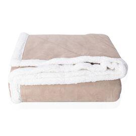 Beige Colour Checker Pattern Faux Suede Patchwork Blanket (Size 200x150 Cm)