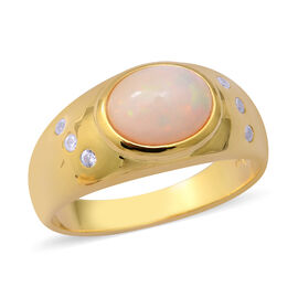Ethiopian Welo Opal and Natural Cambodian Zircon Ring in Yellow Gold Overlay Sterling Silver 2.00 Ct