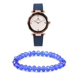 2 Piece Set - STRADA Japanese Movement Austrian Crystal Studded Water Resistant Watch with Stretchable Blue Beads Bracelet (Size 6.75)