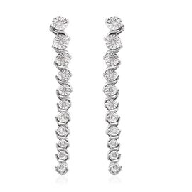 GP Diamond (Rnd), Blue Sapphire Earrings (with Push Back) in Platinum Overlay Sterling Silver Silver