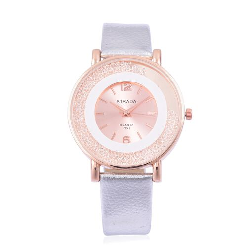 STRADA Japanese Movement Sunshine Dial with White Austrian Crystal Watch in Rose Gold Tone with Silver Colour Strap