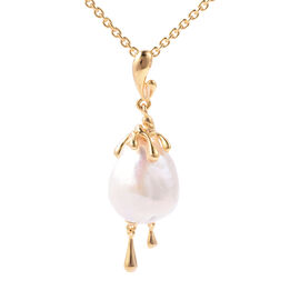 LucyQ - Freshwater White Baroque Pearl Drop Pendant With Chain (Size 30) in Yellow Gold Overlay Ster