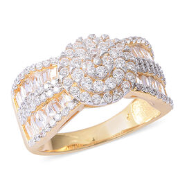 ELANZA Simulated Diamond (Rnd) Cluster Ring in Rhodium and Yellow Gold Overlay Sterling Silver