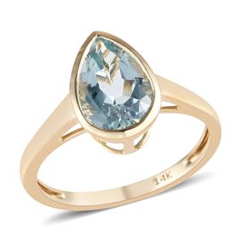 14K Yellow Gold Espirito Santo Aquamarine (Pear 10x7 mm) Solitaire Ring 1.75 Ct.