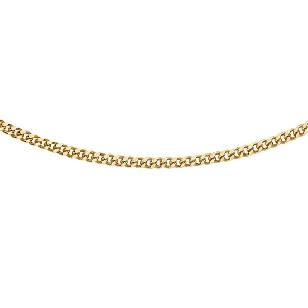 JCK Vegas Close Out- 9K Yellow Gold Curb Necklace(Size 18) with Spring Ring Clasp