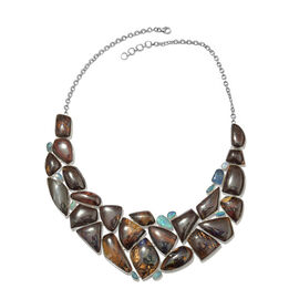 Opal Rock and Opal Double Statement Necklace in Silver 69.12 Grams 18 with 1 inch Extender
