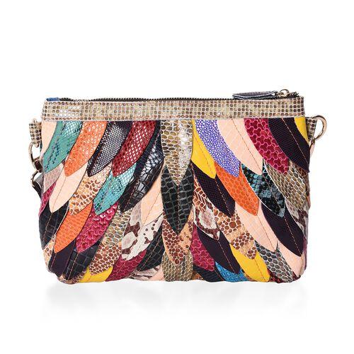 100% Genuine Leather Multicolour Leaf Applique Pattern Clutch Bag with Detachable Shoulder Strap and Zip Closure (Size 27x5x19 Cm)