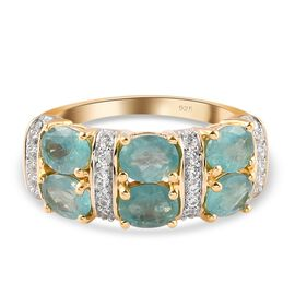Grandidierite and Natural Cambodian Zircon Ring in 14K Gold Overlay Sterling Silver 2.200 Ct.