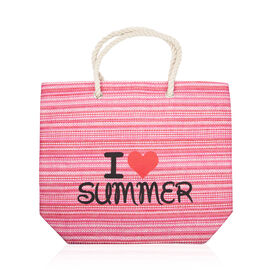 Close Out Deal Pink and Multi Colour I Love Summer Large Beach Bag (Size 49x41x12 Cm)
