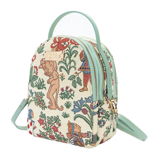 Signare Tapestry - 2 Piece Set - Alice in Wonderland Bagpack (17X6X22cm) and Cosmetic Bag (11X1.5X8cm) in Off-White Colour