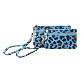 Set of 2 - 100% Genuine Leather Blue and Black Leopard Pattern RFID Clutch Wallet (18x10cm, 15x9cm)
