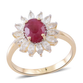 9K Yellow Gold AA Burmese Ruby (Ovl 8X6 mm), Natural White Cambodian Zircon Floral Ring 3.500 Ct.