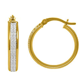 New York Close Out Yellow Gold Overlay Sterling Silver Simulated Diamond Spritz Hoop Earrings (with