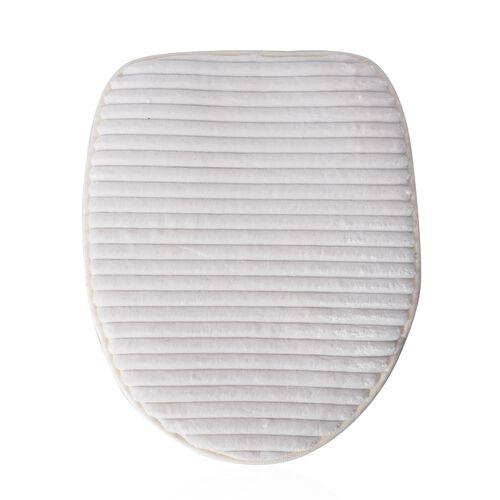 3 Pcs Bath Set - White Colour Bath Mats (Size 80x50 cm), Toilet Seat Cover (Size 47x40 cm) and Contour Mat (Size 50x39 cm)