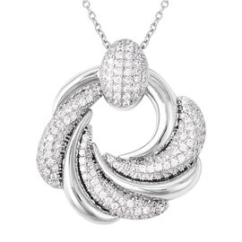 Simulated Diamond (Rnd) Pendant with Chain (Size 20) in Stainless Steel