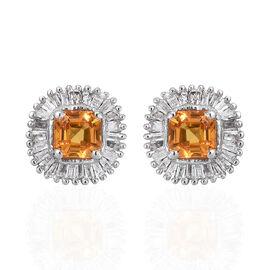 1.25 Carat AAA Chanthaburi Yellow Sapphire and Diamond Halo Stud Earrings in Sterling Silver